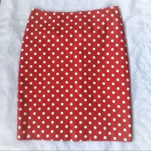 Talbots Red and White Polka Dots skirt